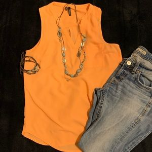 Maurices Orange Sleeveless Sheer Blouse